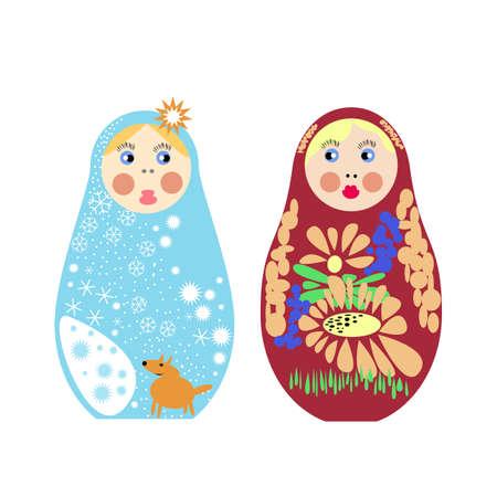 Set of Russian nesting dolls, Matryoshka illustration.