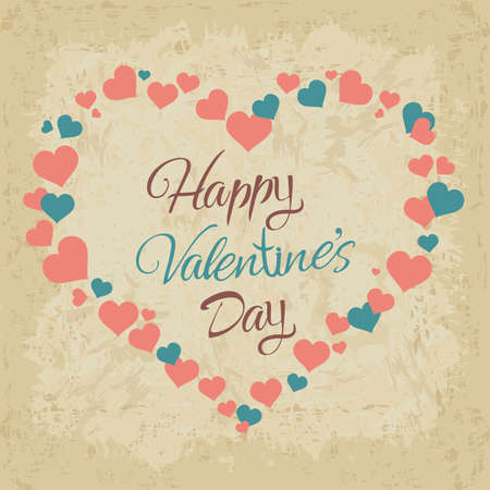 Vector Love Is In The Air inscription in heart shape. Valentine day hand lettering card, poster etc.