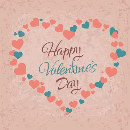 Vector L'amore è nell'aria iscrizione a forma di cuore. Biglietto postale, poster, ecc. Di San Valentino, illustrazione moderna di calligrafia del 14 febbraio su fondo d'annata Archivio Fotografico - 95091228