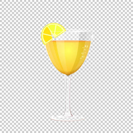 Glass of cocktail. Vector illustration on checkered background. clear glass