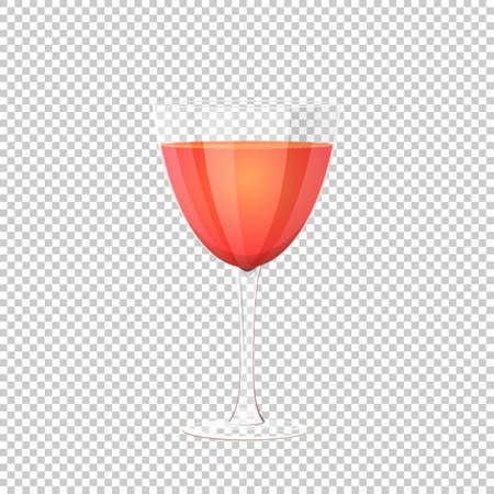 Glass of red wine. Vector illustration on checkered background. clear glass Vettoriali