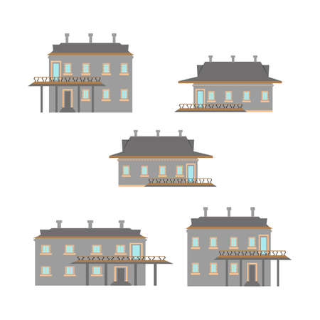 Flat design of retro and modern city houses. Old buildings, skyscrapers. colorful cottage building. Archivio Fotografico - 95252211