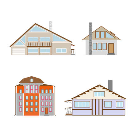 Flat design of retro and modern city houses. Old buildings, skyscrapers. colorful cottage building. Archivio Fotografico - 95252212