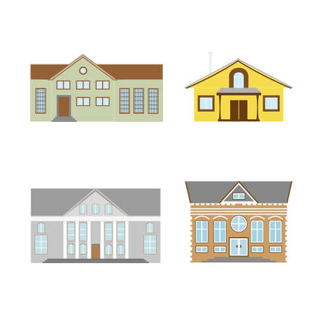 Flat design of retro and modern city houses. Old buildings, skyscrapers. colorful cottage building.