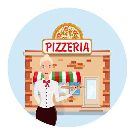 Cartoon pizzeria. Vector flat illustration. Restaurant Waiter Vector. Classic Waiter Takes The Order. Isolated Flat Cartoon Character Illustration. Order pizza Archivio Fotografico - 99247845