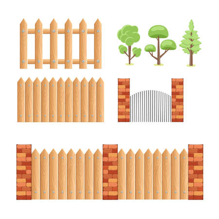 A set of wooden fence elements, a brick wall and trees. Set of abstract stylized trees. Natural illustration