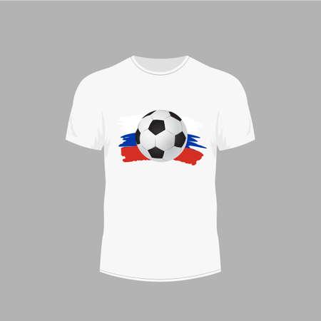T-shirt bianca con pallone da calcio. Design per palla sulla maglietta - illustrazione vettoriale Archivio Fotografico - 99260337