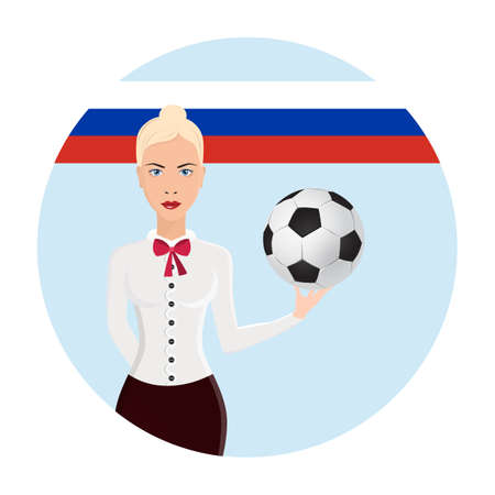 vector illustration girl holding a soccer ball, logo soccer cup on football. graphic design set of banners with modern abstractions and patterns on the background. Archivio Fotografico - 99853077