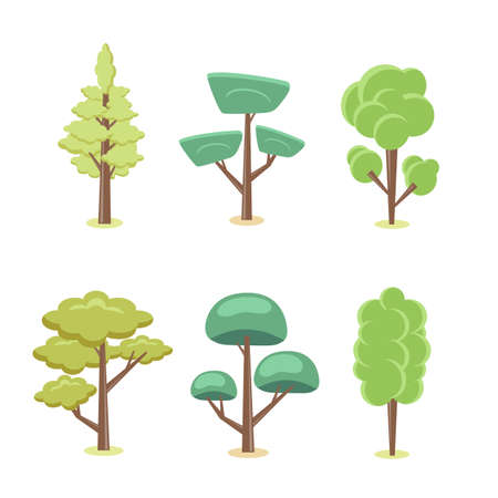 Set of abstract stylized trees. Natural cartoon illustration. Archivio Fotografico