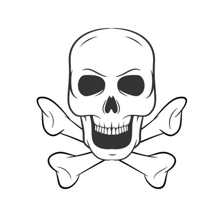 Hand drawn skull with bones. icon on white background. Illustrations