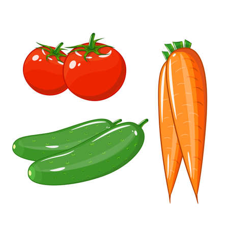 set of vegetables of tomatoes, carrots and cucumbers