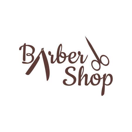 Barber shop vector vintage label, badge, or emblem on gray background