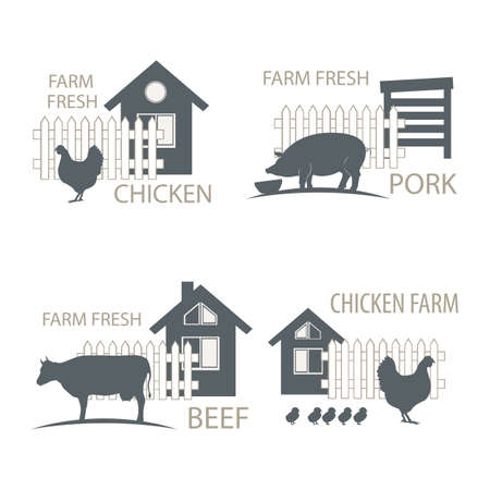 farm chicken, pork and cow, beef - vector illustrations. Vettoriali