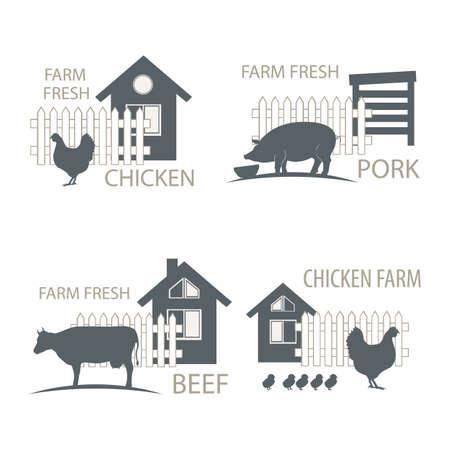 farm chicken, pork and cow, beef - vector illustrations. 矢量图像