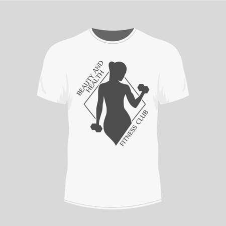 Mens white t-shirt - gym icon