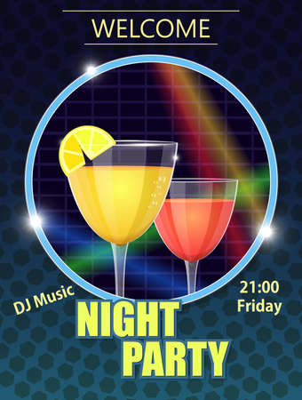 night Party Invitation Card 矢量图像