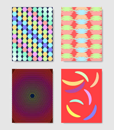 Minimal covers design. Colorful halftone gradients. Background geometric patterns.