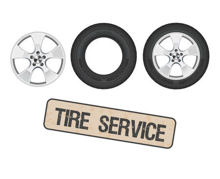 Tire wheel service, shop, garage - flat vector illustratio. Archivio Fotografico - 104868868