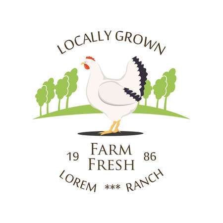 Fresh Farm Produce and logo - vector illustration. Archivio Fotografico - 104869231