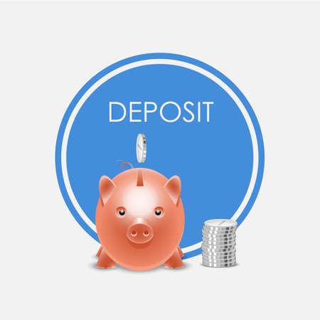 Piggy bank money box. Deposit, vector illustration. 矢量图像