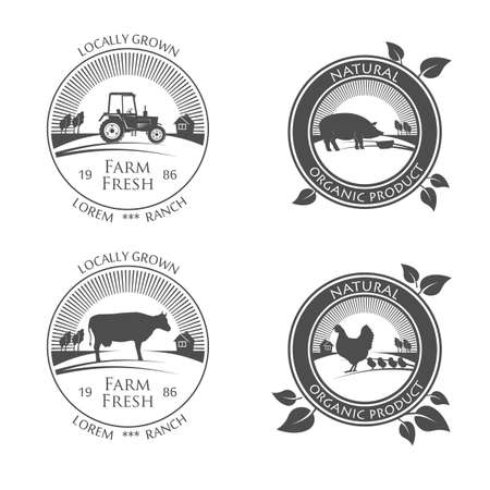 Fresh Farm Produce icons. vector logo with picture of farm chicken, pork and cow, beef Archivio Fotografico - 105142713