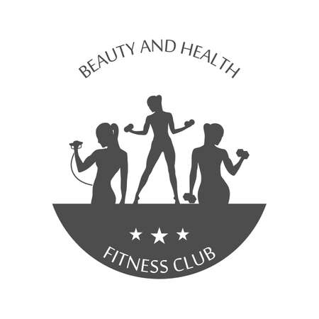 fitness club logotype, sport style vector illustration. 矢量图像