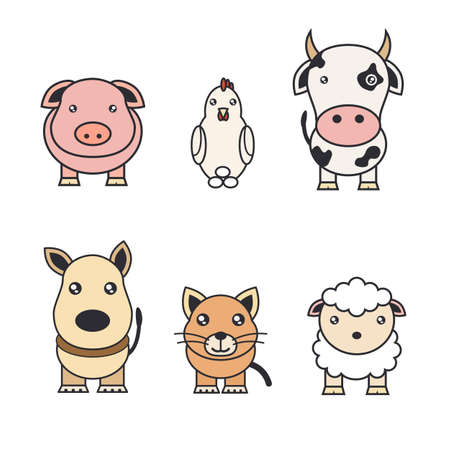Color illustrations of animals on a farm and pets Archivio Fotografico - 114798366