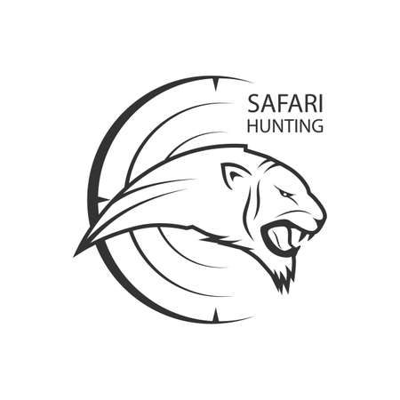African Safari poster with lion or tiger for hunting 矢量图像