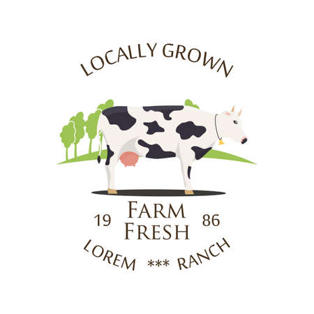 Fresh Farm Produce and logo - vector illustration.