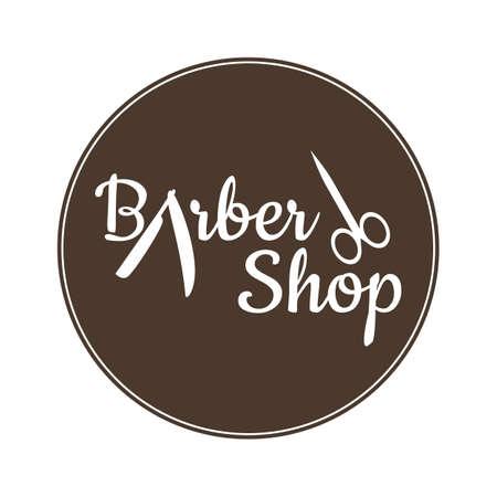 Barber shop vector vintage label, badge, or emblem on vintage background Archivio Fotografico - 105142915