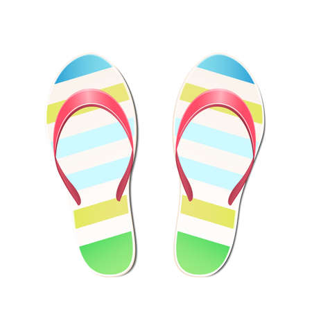 Beach slippers summer symbol. Beach slippers for traveling. Archivio Fotografico - 114798367