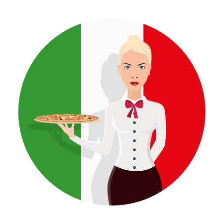 Restaurant waiter girl is holding the pizza on the tray. Italian pizzeria. Isolated Flat Cartoon Character Illustration.