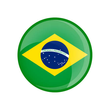 Brazil flag in circle shape. Transparent, glossy, glass button Vettoriali