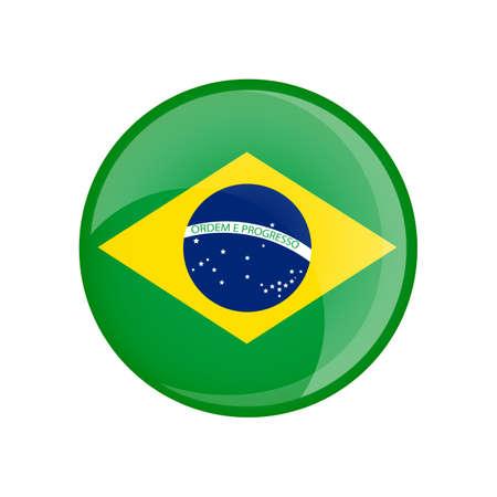 Brazil flag in circle shape. Transparent, glossy, glass button 免版税图像
