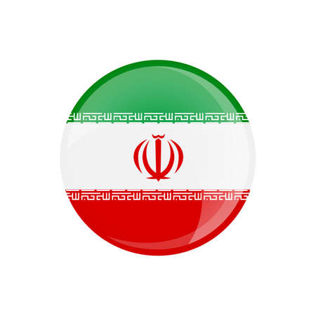 Iran flag in circle shape. Transparent, glossy, glass button