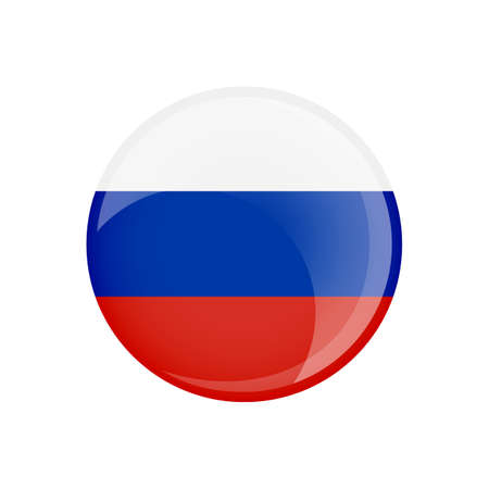 Russia flag in circle shape. Transparent, glossy, glass button