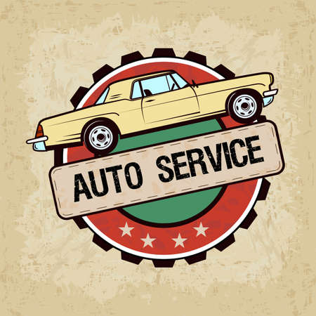 old car in vintage style - vector illustration. Auto service label. Vettoriali