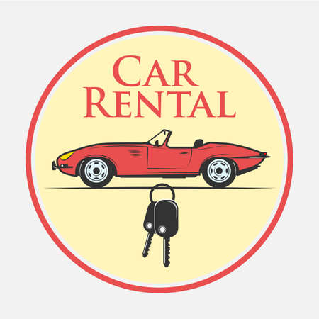 Car rental icon in vintage style - vector illustration Archivio Fotografico - 107868738