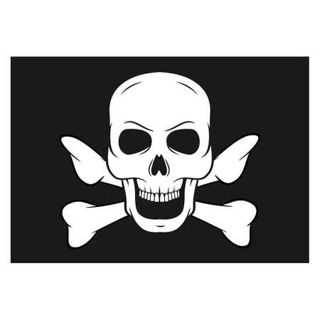 Black pirate flag with skull and bones. Illustration