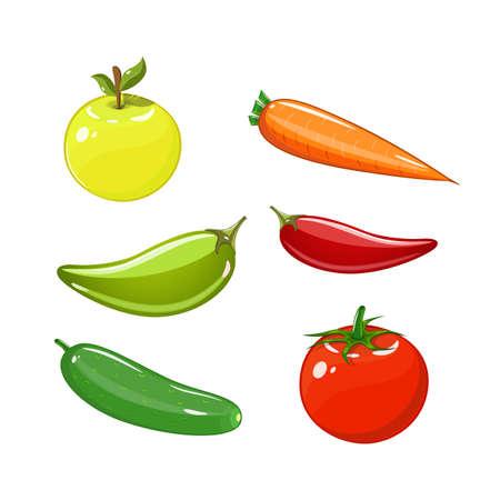 Satz von Gemüse Satz von Tomaten, Karotten, Gurken, Äpfeln und Paprika. Vektorgrafik