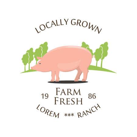 Fresh Farm Produce and logo - vector illustration. Archivio Fotografico - 110262043