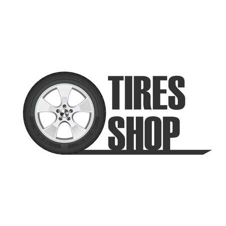 Tire wheel service, shop, garage - flat vector illustration Archivio Fotografico - 125224878