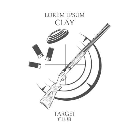 sporting clay Skeet. vintage clay target and gun club labels 版權商用圖片 - 131660457