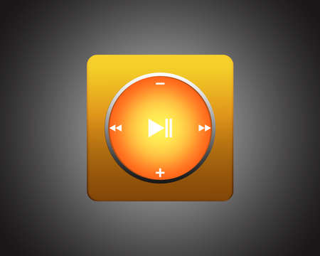 set of the elements for media player. Interface multimedia player with a set of basic functional buttons. Orange square player on dark background photo