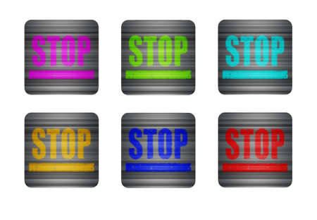 inhibition: Several different colored icons on a white background. illustration icon with the word STOP