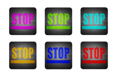 Several different colored icons on a white background. illustration icon with the word STOP illustration