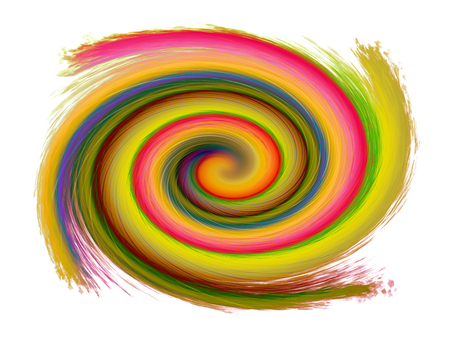 deep pink: illustration of swirling background. Spiral surface paint of different colors, colored spiral on white background Stock Photo
