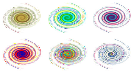 vortices: Colorful abstract icon set, Dynamic flow illustration, six vortices Stock Photo