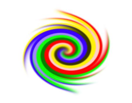 illustratie van wervelende achtergrond. Spiraal oppervlak verf van verschillende kleuren, gekleurde spiraal op witte achtergrond