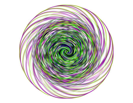 distort: illustration of swirling background. Spiral surface paint of different colors, colored spiral on white background Stock Photo